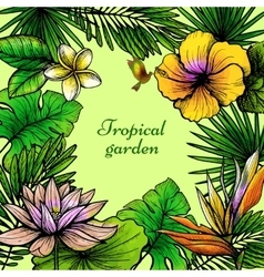 Tropical Leaves Frame vector image vector image