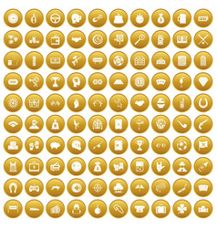 100 gambling icons set gold vector