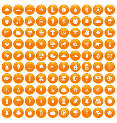 100 leaf icons set orange vector image
