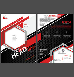 Abstract flyer template with black and red stripes vector