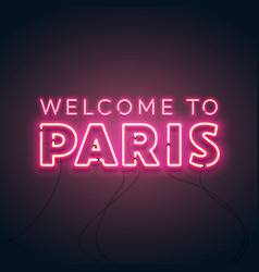abstract welcome to paris neon glow vector image