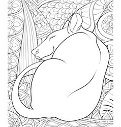 adult coloring bookpage a cute sleeping rat on vector image