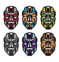 african colorful masks set design template vector image