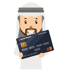 arab holding credit card on white background vector image