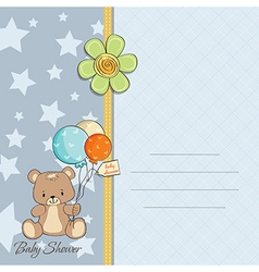 Baby boy shower card with cute teddy bear vector