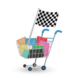 bag on a shopping cart with racing flag vector image