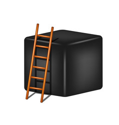 Black cube and wooden ladder vector