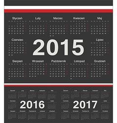 Black Polish circle calendars 2015 2016 2017 vector image