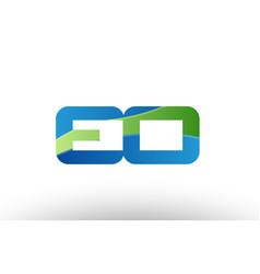 blue green eo e o alphabet letter logo vector image