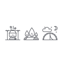 camping icons outdoor activity and hiking outline vector image
