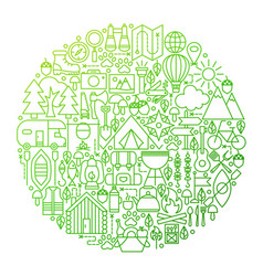 Camping line icon circle design vector
