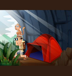 Camping tent with explorer boy vector