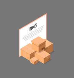 Cardboard delivery boxes isometric banner vector