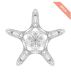 cartoon starfish with ornament vector image