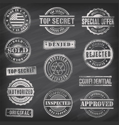 Chalkboard commercial stamps vector