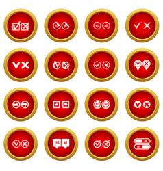 check mark icon red circle set vector image
