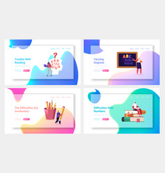 Children with dyslexia disorder landing page vector