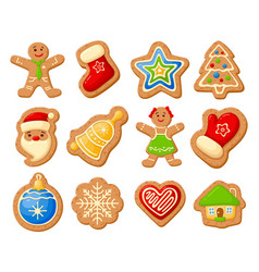 christmas gingerbread set vector image