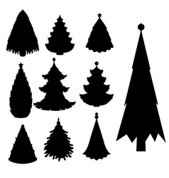 christmas tree black silhouette star xmas vector image