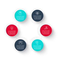 Circle infographic with 6 options steps vector