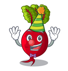Clown whole beetroots with green leaves cartoon vector