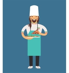 cooking pizza chef vector image