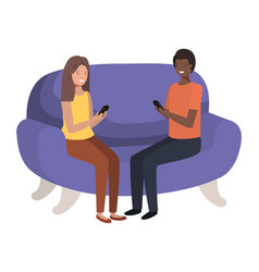 couple using smartphone in sofa avatar vector image