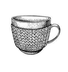 Cup in knitted cozy sweater Hand drawn vector