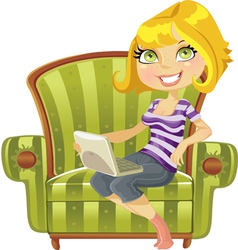 cute blond girl vector image
