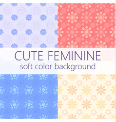 cute girly abstract floral seamless pattern set vector image