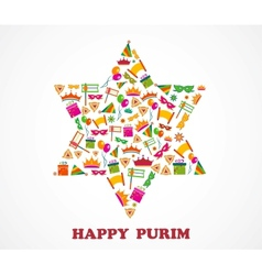 David star with objects of purim holiday vector image vector image