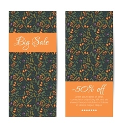 discount sale banners with floral pattern vector image