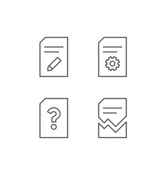 Document edit and corrupt file line icons vector