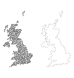 dot contour map of united kingdom vector image