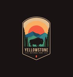 Emblem patch logo yellowstone national park vector