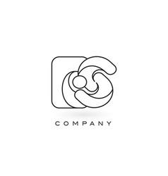 Es monogram letter logo with thin black monogram vector