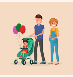 family walking with daughter vector image