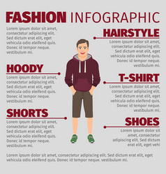 fashion infographic with men in hoodie vector image