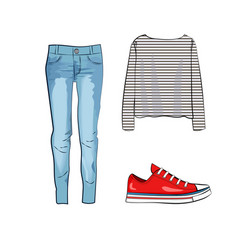 fashion set with jeans trousers striped shirt and vector image