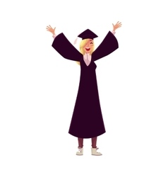 Female student in traditional cap and gown vector image