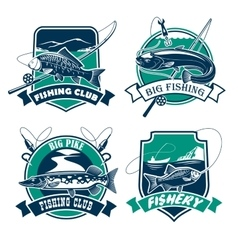 Fishing club icons and emblems set vector