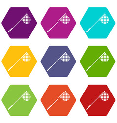 fishing net icon set color hexahedron vector image