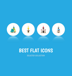Flat icon building set of structure traditional vector
