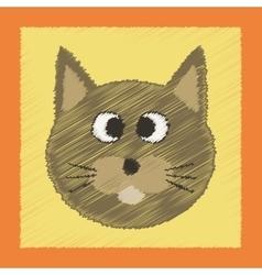 flat shading style icon pet cat vector image
