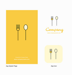 Fork and spoon company logo app icon and splash vector