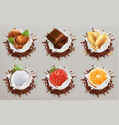 fruit berries and nuts milk and chocolate vector image