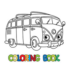Funny small retro bus with eyes coloring book vector