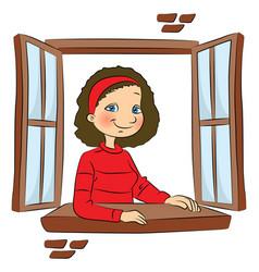 Girl at window vector
