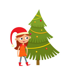 Girl in red hat and christmas tree with balls vector