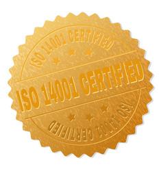 golden iso 14001 certified badge stamp vector image